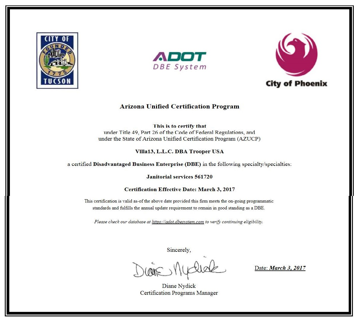 Business Letters Certifications Trooperusa