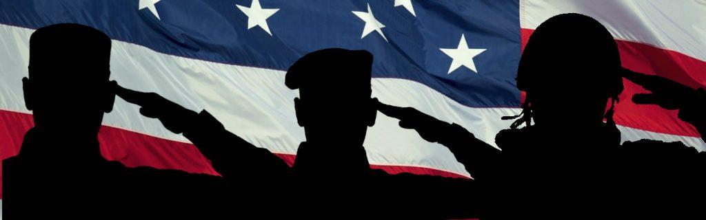 Veteran Salute on American flag
